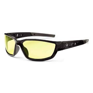 Ergodyne 53050 KVASIR Yellow Lens Black Safety Glasses