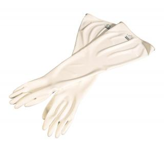 "CSM™Glovebox Gloves, Polyurethane, 8"" Dia Cuff, 15mil, 32 In, Hand Specific, White, 10"