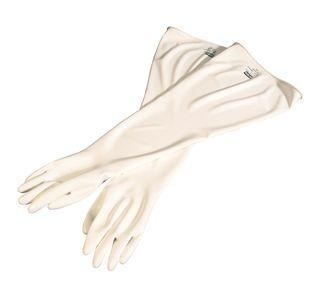 """CSM™Glovebox Gloves, Polyurethane, 8"""" Dia Cuff, 15mil, 32 In, Hand Specific, White, 11"""