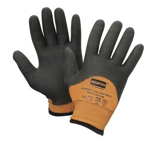 NorthFlex™ Cold Grip™Plus 5™ Cut Resistant Gloves, foam PVC 3/4 coating, Black/Hi-Viz Orange, SM