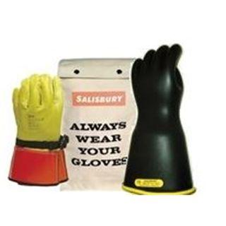 "Honeywell Safety GK114YB/10 Lineman Glove Kit With Leather Protectors & Bag Class 1 14"" Yel"