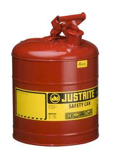 Justrite Manfucturing Company 7150100 Type I Steel Safety Can for flammables, 5 gallon, S/S flame ar