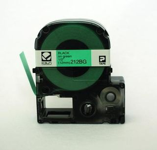 K-SUN CORPORATION 212BG LABEL 12MM BLACK ON GREEN TAPE