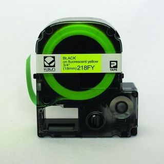 K-SUN CORPORATION 218FY LABEL 18MM FLUOR BLACK ON YELL