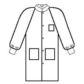 BASIC* Plus Lab Coat, Knit Collar & Cuff, 5 Snaps, 3 Pockets, Neck Loop, White, MD