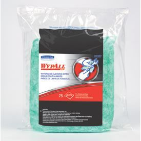 Kimberly-Clark 91367 WYPALL* Waterless Cleaning Wipes Refill, 9.5in x 12in, Green, 75 sheets, 6PK/CS