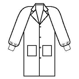 Kimberly-Clark Professional 10122 BASIC* Lab Coat, Collar, Knit Cuff, 4 Snaps, 2 Pockets, White, LG