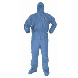 KleenGuard* A60 Bloodborne Pathogen & Chemical Splash Protection Coveralls, Hooded & Booted - Zipper front with storm flap; Elastic wrists, Blue, 4X