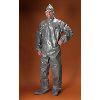 Lakeland Industries C3T151-LG ChemMax 3 Coverall, Hood & Boots (respirator fit), Taped Seam, Ela