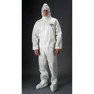 Lakeland Industries C72151-LG ChemMax 2 Coverall, Hood & Boots (Respirator Fit), Taped seam, Ela