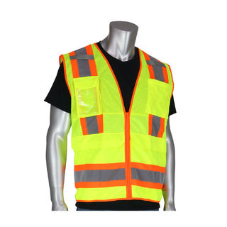 Class 2 Tech Vest, 8 Pockets, ID, Mic Tabs, Two Tone Tape, OR, LG