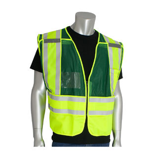 ANSI 207 PSV Vest, ID Pckts, Brkwy Zipper Closure, 2x1in. Reflec. Grn, 2X-5X