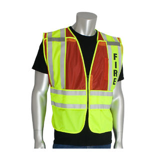 ANSI 207 PSV Vest, Fire, Brkwy Zipper Closure, 2x1in. Reflec. Red, 2X-5X