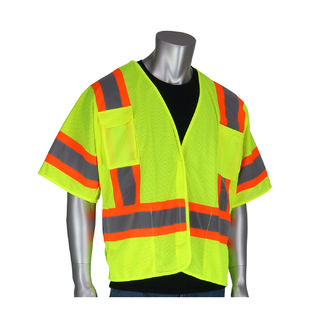 PIP - Protective Industrial Products 303-5PMTT Class 3 Mesh Brkwy Vest, 4 pockets, H&L Closure,