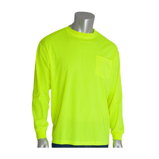 Non-ANSI, Long Sleeve T-shirt, Crew Neck, Chest Pocket, LY, 3X