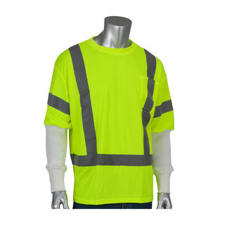 Class 3 Short Sleeve T-shirt, Crew Neck, Chest Pocket, LY, with white Pritex sleeves, MD
