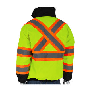 Class 3/CSA Z96, X-Back Two Tone, Insulated Jacket, Zipper, Lime Yel., 2X