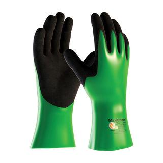 MaxiChem, Nylon/Lycra Liner, Grn/ Blk. Nitrile Blnd, Full Coat,12 In., LG