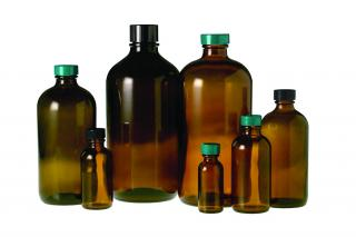 QorPak GLC-05481 Amber Boston Round Bottles with Phenolic Pulp/Vinyl Lined Cap