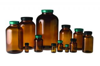 QorPak GLC-07559 Amber Wide Mouth Packer Bottles with Phenolic PolyCone Lined Cap