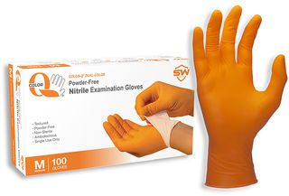 Color-Q® Nitrile Powder-Free Exam Gloves, 100/Box, 10 Box/Case, XS