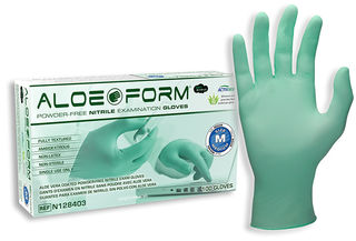 SW Safety Solutions N128403 AloeForm Soft Powder-Free Nitrile Exam Glove, 100/Box, 10 Box/Case, M