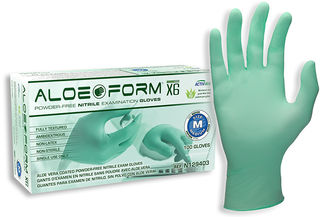 SW Safety Solutions N129403 AloeForm X6 Powder-Free Nitrile Exam Glove, 100/Box, 10 Box/Case, M