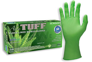 SW Safety Solutions N263414 AloeTuff Flock-Lined Powder-Free Nitrile Industrial Glove, 50/Box, 10 Bo