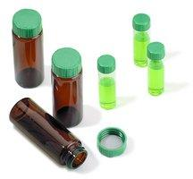 Vials, screw top with solid green Melamine cap with PTFE liner, preassembledvolume 2 mL, clear glass vial (standard opening - 4.6 mm), PTFE liner