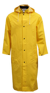 "Tingley C53217.LG .35MM Industrial Work Coat - Yellow - 48"" - Storm Fly Front - Detachable Hoo"