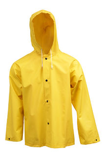 Tingley J53107 .35MM Industrial Work Jacket - Yellow - Storm Fly Front - Attached Hood, Size LG