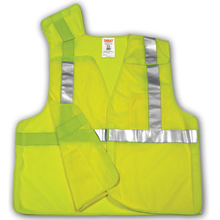 Type R Class 2 5 Point Breakaway Vest - Fluorescent Yellow-Green - Polyester Mesh - Hook & Loop Closure - Breakaway Hook & Loop at Shoulders, Sides and Front - 2 Interior Pockets - Silver Reflective Tape, Size 4X-5X