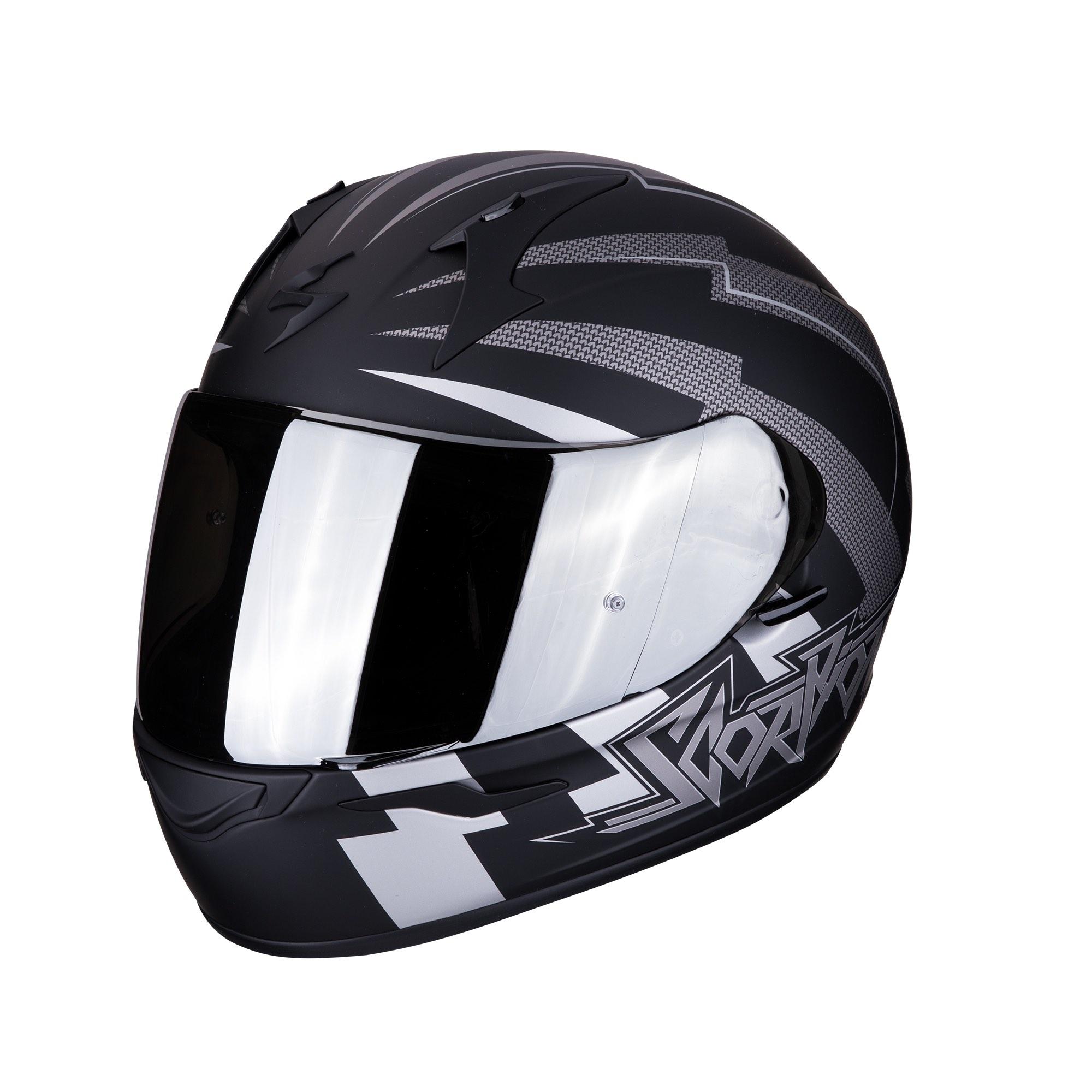 XS Negro//Gris Scorpion Casco de moto EXO-390 ONEWAY Matt Black-Silver