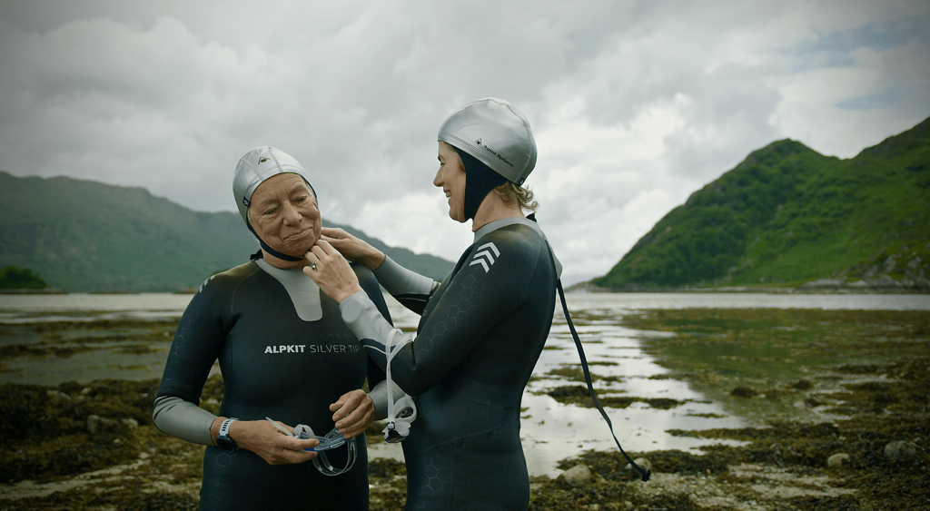 Still from the film Chasing the Sublime about cold water swimming in Scotland