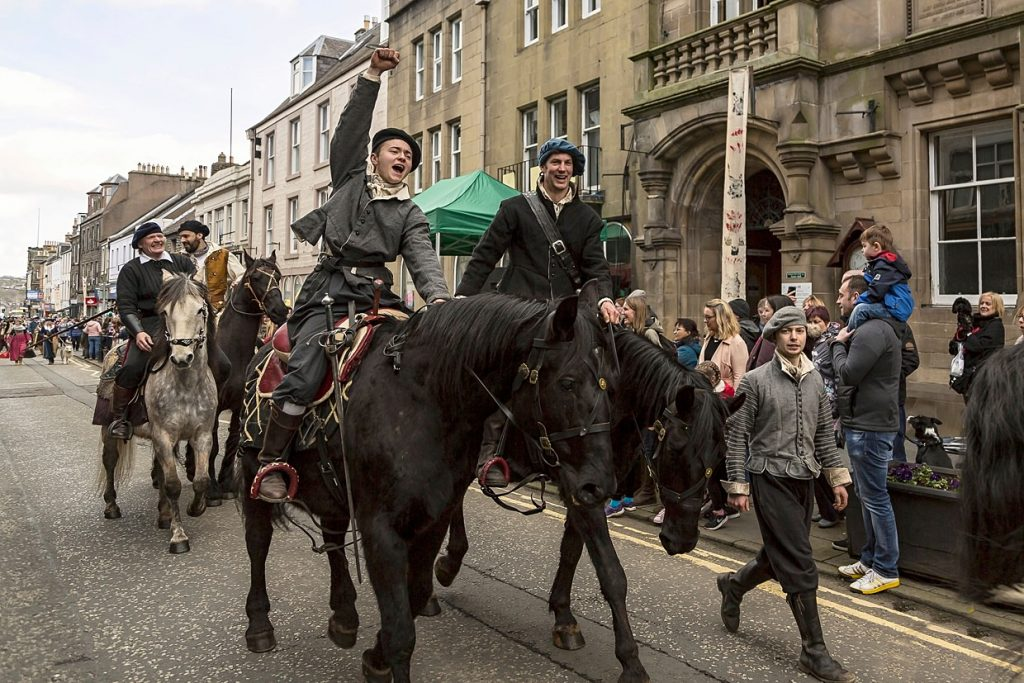 Participants and spectators at the Hawick Reivers Festival