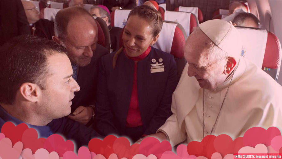 "Pope Francis Spreads ""Love"" Mid Air"