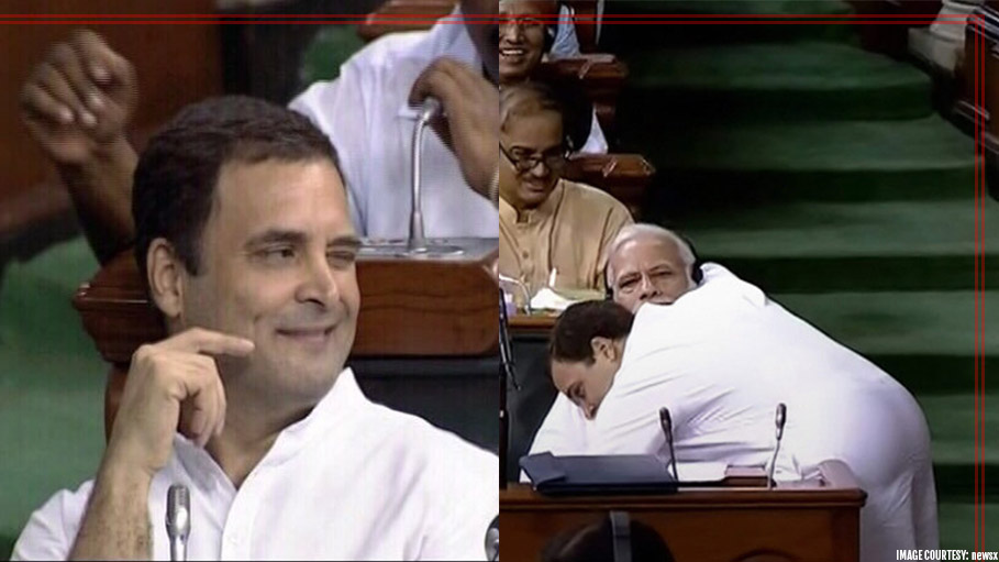 Rahul Gandhi Winking after Giving Narendra Modi a Hug Raises Eyebrows During No Confidence Motion