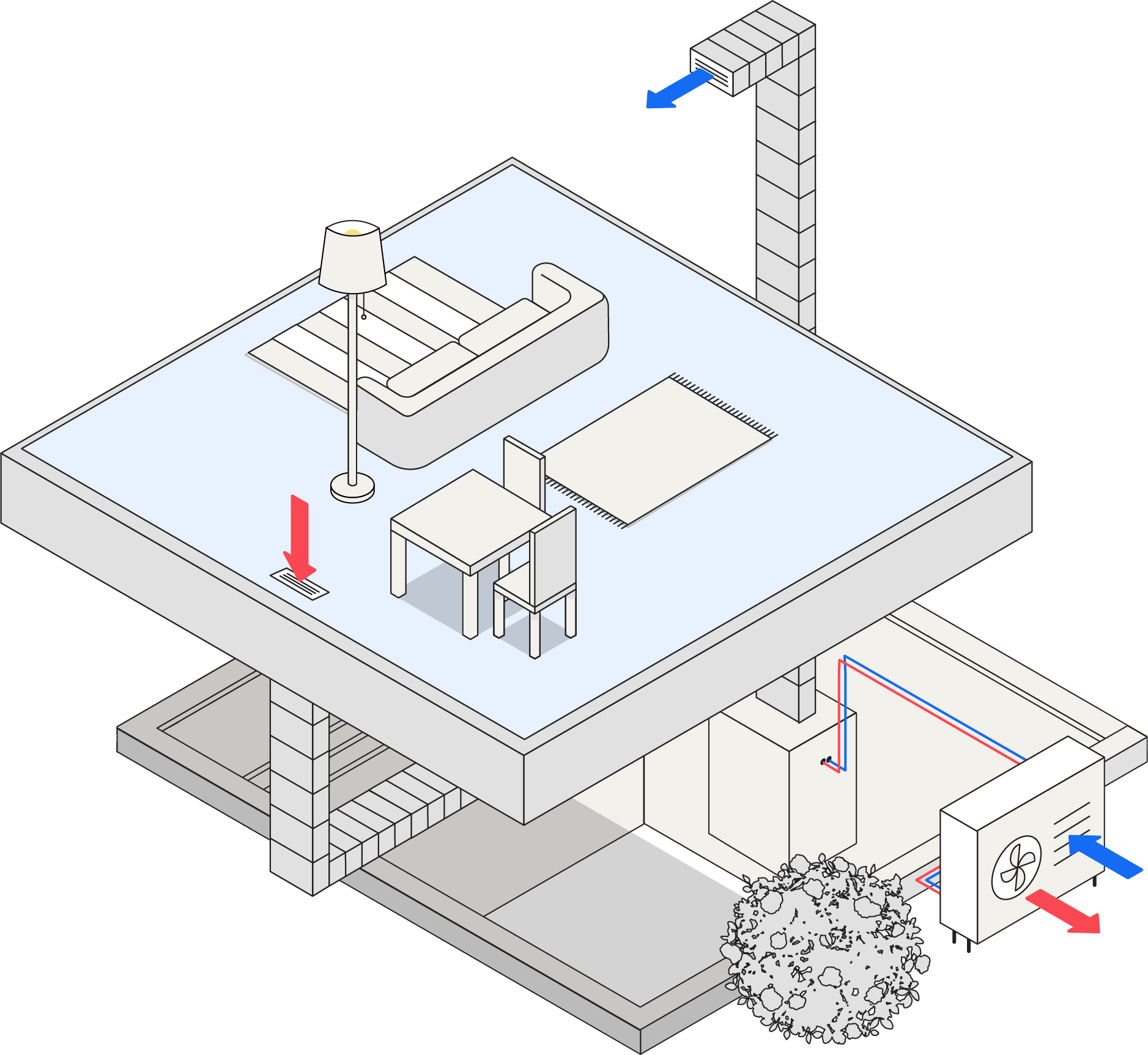 Illustration of a room with duct work