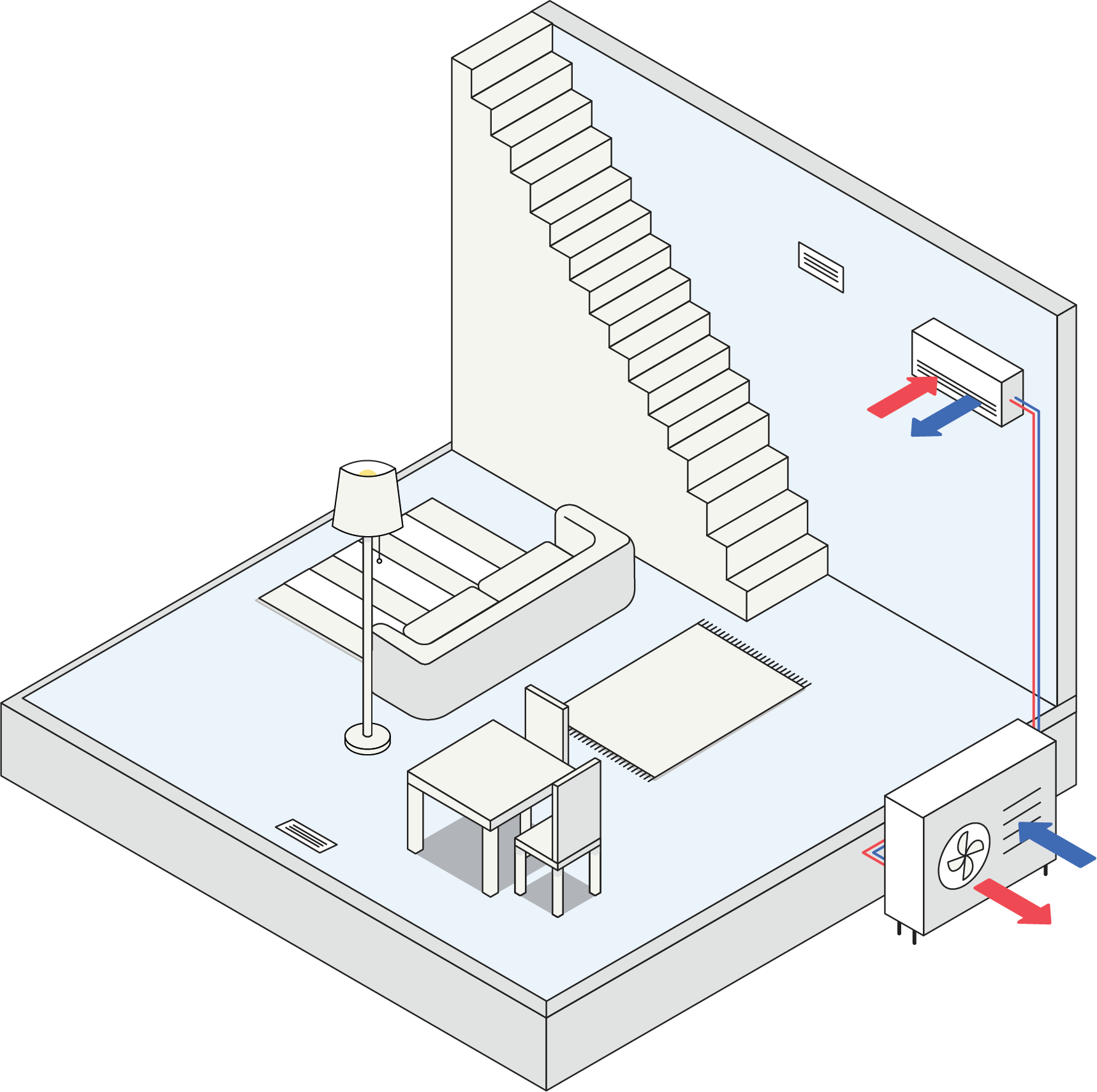 Illustration of a room with a ductless unit