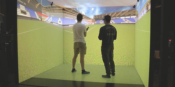 Virtuaaliluolassa SP-stadionin 3D-mallinnus.
