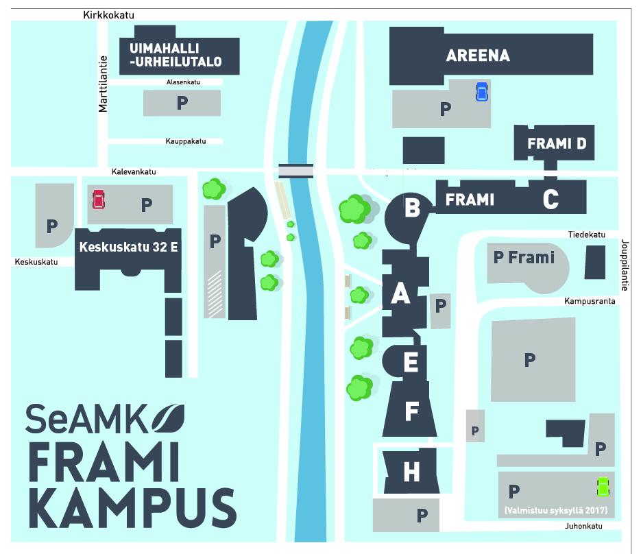 Framin kampusalue- ja pysäköintikartta