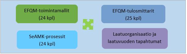SeAMK-prosessit, EFQM-toimintamallit, EFQM-tulosmittarit ja laatuorganisaatio ja laatuvuoden tapahtumat