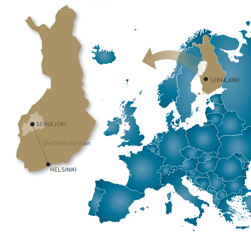 Map of Europe, where Finland and city of Seinäjoki pinpointed.