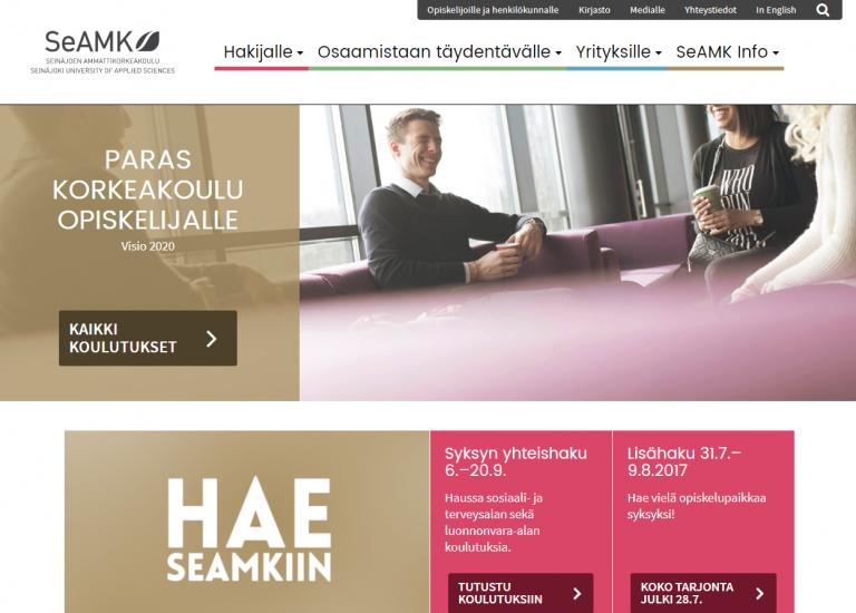 Kuvakaappaus SeAMKin etusivusta www.seamk.fi