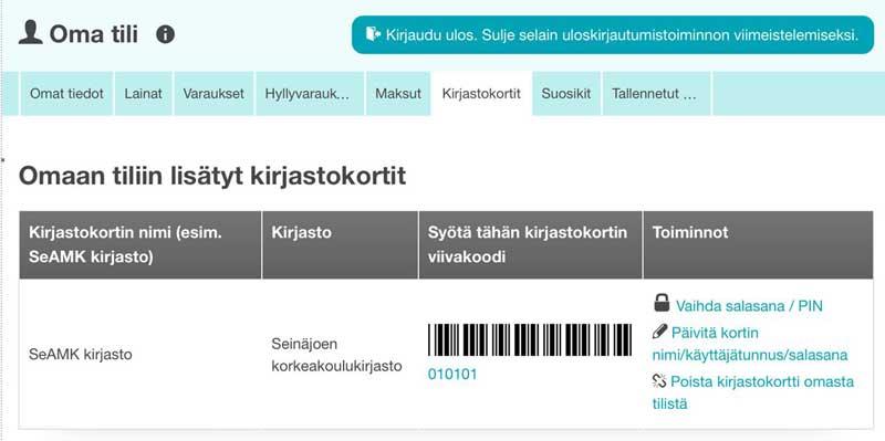 Kuvakaappaus SeAMK-Finna hakupalvelun Kirjastokortit-välilehdeltä