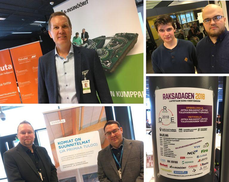 Kuvassa yritysten edustajat Petri Moksén (A-Insinöörit) ja Reima Paananen (Ramboll) sekä tapahtumaa järjestämässä olleet opiskelijat Alexander Garbalin ja Aarni Brax.