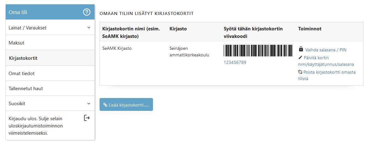 Kuvakaappaus SeAMK-Finna verkkopalvelun Kirjastokortit-välilehdeltä