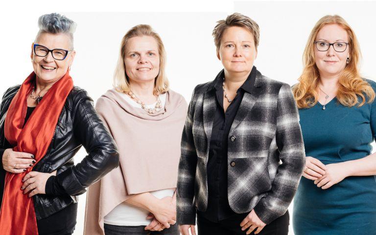 Kirsti Sorama, Elina Varamäki, Anmari Viljamaa ja Sanna Joensuu-Salo