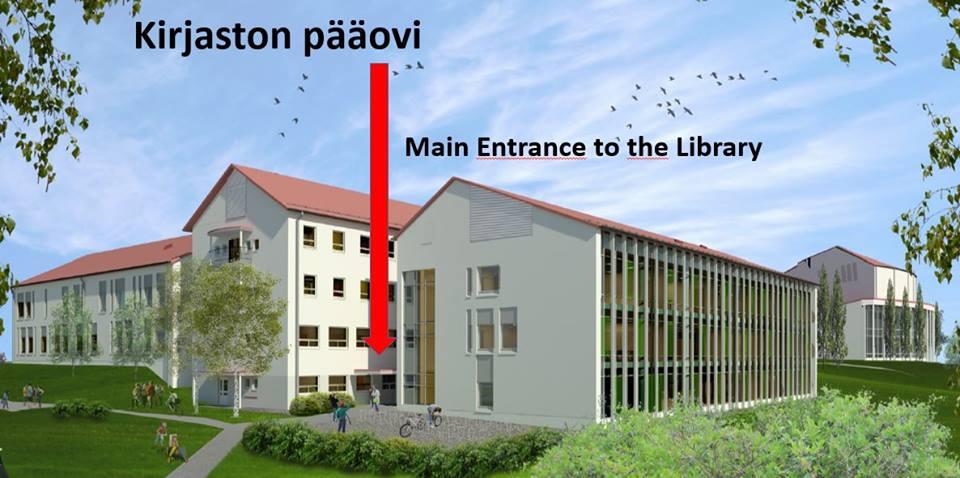 Havainnekuva SeAMK Kirjaston pääoven sijainnista