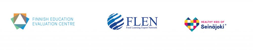 Logos of Finnish Education Evaluation Centre, Food Learning Export Network and Healthy kids of Seinäjoki.